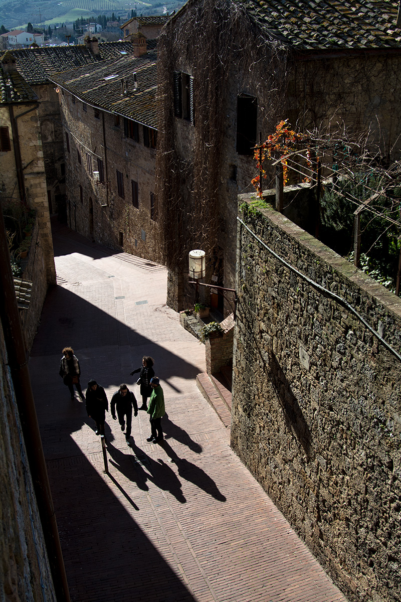 People walking in San Gimignano